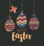 Greeting card with Easter eggs Stock Images
