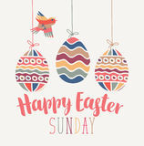 Greeting card with Easter eggs Stock Photos