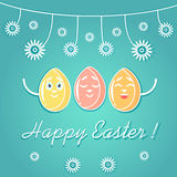A greeting card for Easter, with emotional bright colored Easter eggs, decorated with flowers, white lines. vector illustration