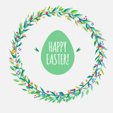 Greeting card for Easter with floral wreath. Cute greeting card for Easter, vector holiday card Stock Photo