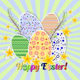 Greeting card for Easter with ornament from painted eggs and daffodils. No gradient fills. Christ Is Risen Stock Photos
