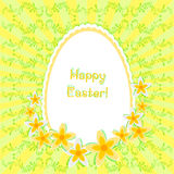 Greeting card for Easter with painted egg and daffodils on background with floral ornament. No gradient fills Stock Photography