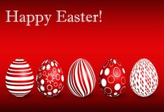 Greeting card for Easter with a set of red Easter eggs Stock Photography