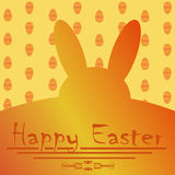 Greeting card for Easter with yellow Easter Bunny Stock Images