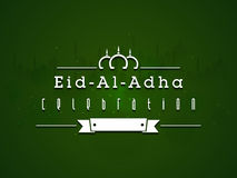 Greeting card for Eid-Al-Adha celebration. Beautiful greeting card design with silhouette of Mosque on green background for Muslim Community Festival of Royalty Free Stock Photo