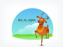 Greeting card for Eid-Al-Adha celebration. Greeting card design with funny goat on nature view background for Islamic Festival of Sacrifice, Eid-Al-Adha Stock Images