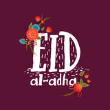 Greeting card for Eid-Al-Adha celebration. Elegant greeting card design decorated with colorful flowers and stylish text Eid-Al-Adha on purple background for Stock Photos