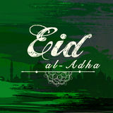 Greeting card for Eid-Al-Adha celebration. Elegant greeting card design with Mosque on stylish green background for Islamic Festival of Sacrifice, Eid-Al-Adha Stock Image