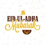 Greeting Card for Eid-Al-Adha Celebration. Vector Eid-Ul-Adha Mubarak Typography with Sheep Face and Chopper for Muslim Community, Festival of Sacrifice Royalty Free Stock Photos