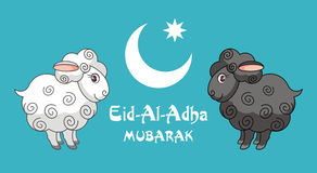 Greeting card Eid al adha. Eid al-Adha greeting card with the image of the sacrificial lamb and Crescent Royalty Free Stock Photos