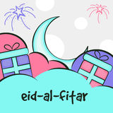 Greeting card for Eid festival celebration. Stock Images