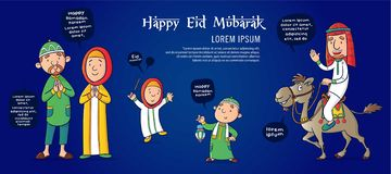 Eid mubarak greeting card vector illustration