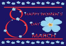 Poster International Happy Women`s Day 8 March. Floral greeting card vector illustration. Greeting card on the eighth of March with a blue forget-me-not Stock Image