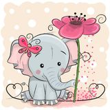 Greeting card Elephant with flower. On a pink background stock illustration
