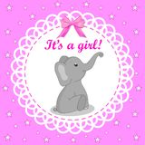 Greeting card with elephant for a girl on Baby Shower. Pink background. Baby shower invitation card with grey elephant. Vector ill royalty free illustration