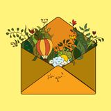 Greeting card envelope autumn journey in a hot air balloon.  Royalty Free Stock Image