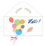 Greeting card with envelope, balloons Royalty Free Stock Photography