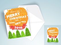 Greeting card with envelope for Christmas and New Year. Creative ornaments decorated greeting card design with envelope for Merry Christmas and Happy New Year Stock Photography