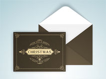 Greeting card with envelope for Christmas and New Year. Royalty Free Stock Image