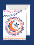 Greeting Card with Envelope for Eid celebration. Royalty Free Stock Images