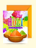 Greeting card with envelope for Holi celebration. Royalty Free Stock Photography