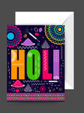Greeting card with envelope for Holi celebration. Stock Image