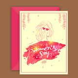 Greeting card with envelope for Women's Day celebration. Stock Image