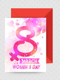 Greeting card with envelope for Women's Day. Creative shiny text 8 March decorated greeting card design with glossy envelope for Happy Women's Day celebration Stock Images