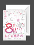 Greeting card with envelope for Women's Day. Royalty Free Stock Images