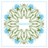 Greeting card with ethnic cornflower ornament pattern Stock Image