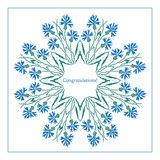 Greeting card with ethnic cornflower ornament pattern Royalty Free Stock Images