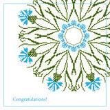 Greeting card with ethnic cornflower ornament pattern Royalty Free Stock Image