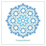 Greeting card with ethnic cornflower ornament pattern Royalty Free Stock Photography