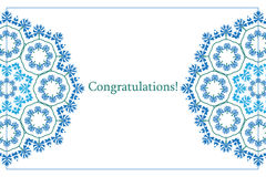 Greeting card with ethnic cornflower ornament pattern Stock Photography