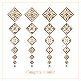 Greeting card with ethnic ornament pattern in different colors Royalty Free Stock Image