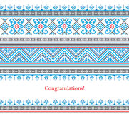 Greeting card with ethnic ornament pattern in different colors. On white background. Vector illustration. From collection of Balto-Slavic ornaments Stock Photos