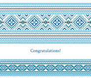 Greeting card with ethnic ornament pattern in different colors. On white background. Vector illustration. From collection of Balto-Slavic ornaments Vector Illustration