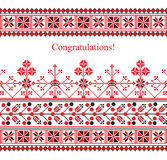 Greeting card with ethnic ornament pattern in white red black colors Royalty Free Stock Photo