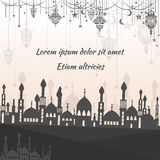 Greeting card ethnic with silhouette of a mosque stock illustration