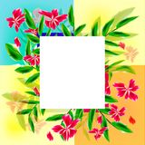 Greeting card with exotic flowers Royalty Free Stock Photos