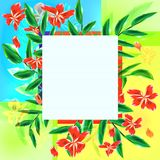 Greeting card with exotic flowers Royalty Free Stock Image