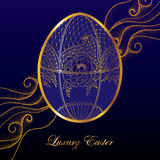 Greeting card with Faberge egg in floral motifs on the dark blue background with dotted curls. Series jewelry in contour style. Luxury background for Easter Stock Photography