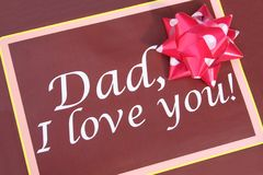Greeting card for father. Brown greeting card for father with red and white ribbon Royalty Free Stock Photos