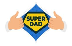 Greeting card for Father`s Day. Opening shirt Dad vector illustration. Man open shirt to show `Dad` sign in flat cartoon style. Open shirt, good father stock illustration
