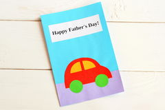 Greeting card father's day. Happy father's day. Kids crafts. Fathers day gifts and ideas Stock Image