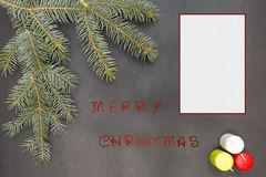 Greeting card with festive decoration and text - Merry Christmas Royalty Free Stock Photo