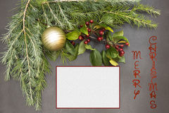 Greeting card with festive decoration and text - Merry Christmas Stock Photo