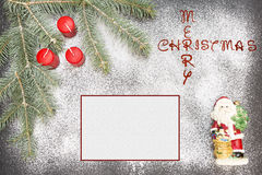 Greeting card with festive decoration and text - Merry Christmas Stock Images