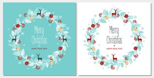 Greeting card with a festive wreath. Design Elements. Vector illustration Royalty Free Stock Photo