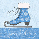 Greeting card figure skating. Winter background with snowflakes and ornamental retro skate. Christmas and New Year vector illustration Royalty Free Stock Photography